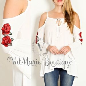 ITS HERE!!! BELL SLEEVE ROSE PATCH SLEEVE TOP