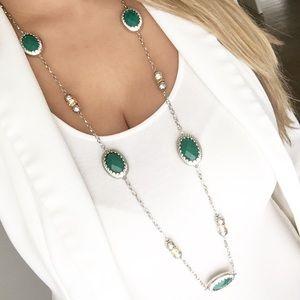 New York & Company silver green pendant necklace