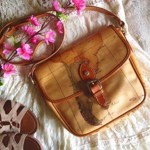 Vintage Handbags - Vintage Alviero Martini Geo Saddle Crossbody