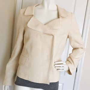 Banana Republic Jackets & Blazers - Banana Republic Ivory White Moto Jacket Blazer 12