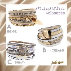 Jewelry - NEW! Boho wrap layered leather bracelet magnetic