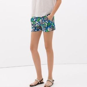 Zara Pants - Zara Basic Blue White Floral Print Chino Shorts