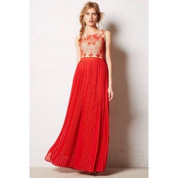 5e41f0fa08b Anthropologie Dresses   Skirts - Anthropologie Rina Dhaka Red Maxi Dress
