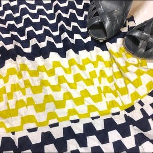 Taylor A-line blue, yellow and brown dress
