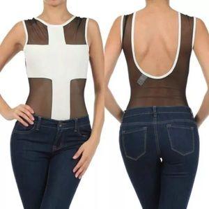 Tops - ❤️ Bodysuit White Cross Mesh See Thru Sleeveless
