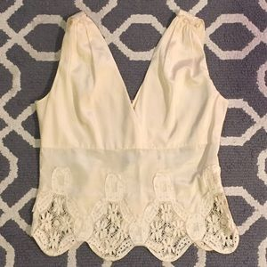 Elie Tahari Tops - Elie Tahari Cream Silk & Lace Shell