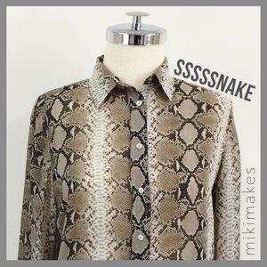 Zara Tops - ZARA • snake print button down collared shirt