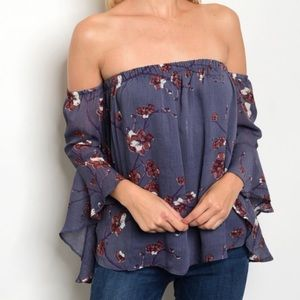 Tops - Off Shoulder Floral Bell Sleeve Top