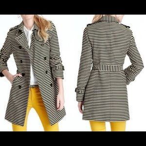RARE Loft Black and Cream Striped Trench Coat