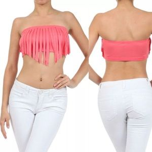 Tops - Peach Crop Top Bandeau Fringe Strapless Tube NEW