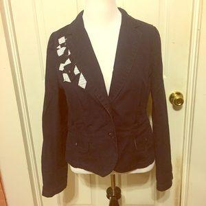 Ann Taylor Jackets & Blazers - Ann Taylor Loft Navy Blue w/ White Pattern Jacket