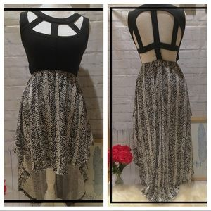 Poof Couture Dresses & Skirts - Black and White Chevron High Low/ Backless Dress