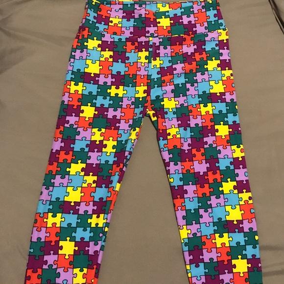 00155f2bb00c7b LuLaRoe Pants | Autism Awareness Puzzle Pieces Osnbw | Poshmark