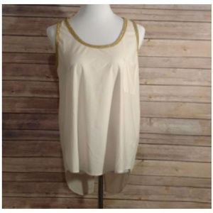 Double Zero Tops - Ivory w Gold Edging Tank