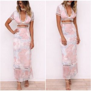 Dresses & Skirts - Two Piece Pink Blue Pastel Crop Top And Skirt Set