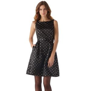 WHITE HOUSE BLACK MARKET SHIMMER DOT FLARE DRESS