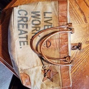 MONA LISA Handbags - Canvas bag with leather.
