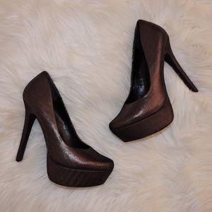 Jessica Simpson black/metallic pumps