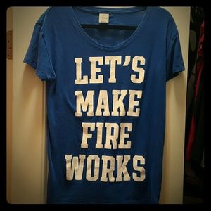 """PINK Victoria's Secret """"Let's Make Fireworks"""" Tee"""