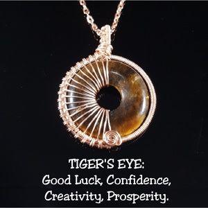 10 Crosby Derek Lam Jewelry - Tiger's Eye Rose Gold Wire Wrap Necklace Handmade