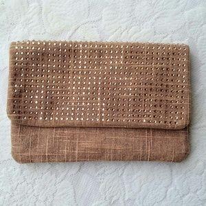 Deux Lux Handbags - Deux Lux Tan Rhinestone Magnetic Snap Makeup Bag