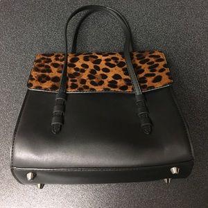 Zara Leopard Black Handbag