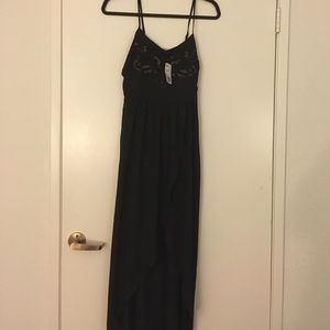 NWT Forever 21 high low black Maxi Dress XS