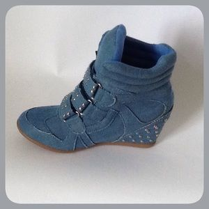 Bolaro by Summer Rio Shoes - Blue Denim Wedge Sneakers