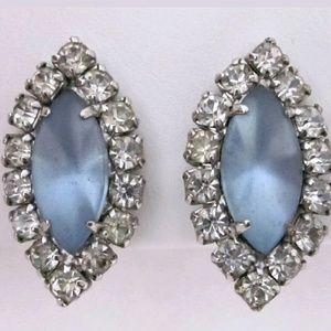 Vintage Estate Blue Cabochon Earrings
