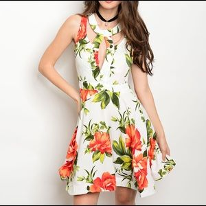 Open back floral print summer dress