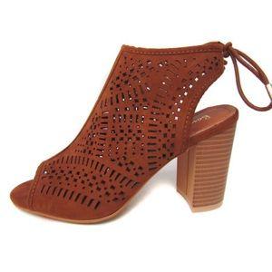 Fabfindz Shoes - Laser cut Tan Sandal Bootie