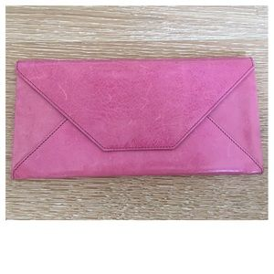 Abas Handbags - Abas Pink Leather Clutch Wallet Mirror Passport