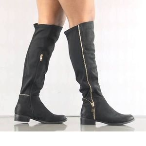 Black Suede Burnished Knee High Tall Boots