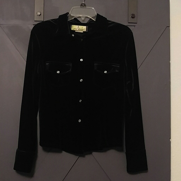 b4893b292 Loco Lindo Tops | Black Velvet Button Down Shirt | Poshmark