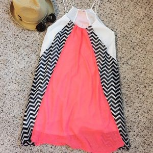 Dresses & Skirts - Coral & Chevron Swing dress