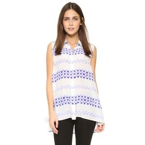 Equipment Tops - Equipment milla white geo check print top blouse M
