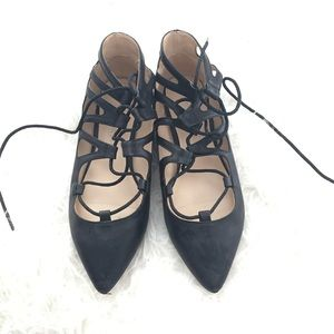 Shoes - Black Lace Up Pointy Flats Sandals size 7
