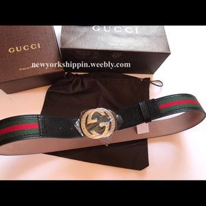 Gucci Other - Official men's black green/red Web Gucci belt