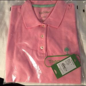 """NWT Lilly Pulitzer """"pretty pink"""" S island polo"""