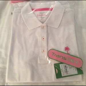 NWT Lilly Pulitzer S White Island tee pink palm tr