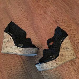 Steven by Steve Madden Shoes - Steve Madden black straps wedges size 8.5