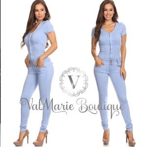 ValMarie Boutique Pants - ‼️LAST ONE - DENIM SEXY FITTED JUMPSUIT