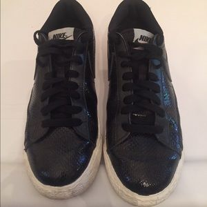 Nike Shoes - Black Nike snakeskin and leather sneakers