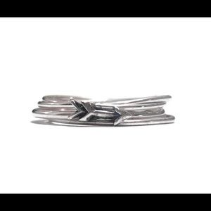 nejd Jewelry - 925 Sterling Silver Arrow Stacking Ring Set