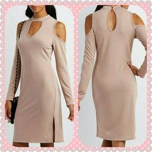 Dresses & Skirts - MOCK NECK COLD SHOULDER KEYHOLE DRESS