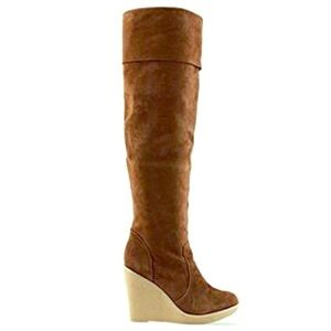 Kelsi Dagger Shoes - Kelsi Dagger Cognac Suede Knee High Boots