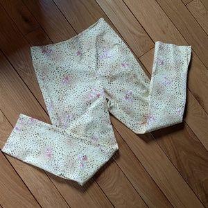 leggiadro Pants - Yellow floral Leggiadro cigarette pants