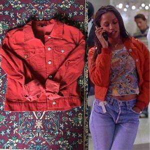 Vintage Jackets & Blazers - 90s Corduroy Red Denim Jacket