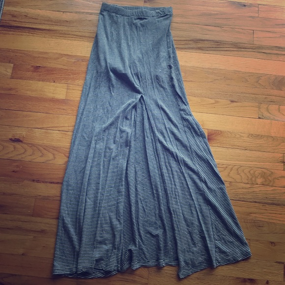Forever 21 - Grey and black striped maxi skirt from Aliu0026#39;s closet on Poshmark