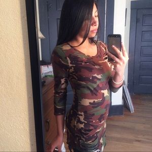 The Blossom Apparel Tops - Camouflage Destroyed T-Shirt